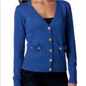CAbi Royal Blue Cashmere Blend Cardigan Sweater
